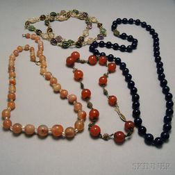 Four Glass and Hardstone Necklaces
