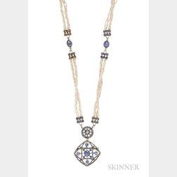 Sapphire, Diamond, and Seed Pearl Sautoir