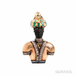 Gold and Colored Diamond Blackamoor Brooch, Nardi