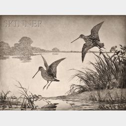 Lot of Sporting Print-Related Items:      Alfred Conway Peyton (American, 1875-1936), Bob Whites in Flight
