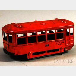 Kingsbury Painted Pressed Metal No. 782 Street Trolley Car