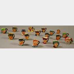 Eighteen Miniature Assorted Royal Doulton Ceramic Character Jugs
