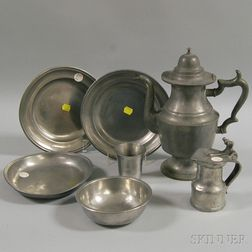 Seven Pewter Tableware Items