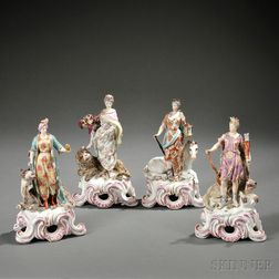 Continental Hard Paste Porcelain Figures Representing the Four Continents