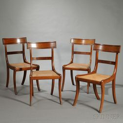 Set of Four Carved Mahogany Grecian-style Side Chairs