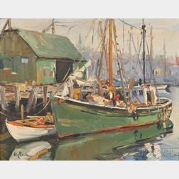 Otis Pierce Cook (American, 1900-1980)      Italian Fishing Boat, Gloucester