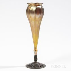 Tiffany Studios Favrile Floriform Vase with Bronze Base