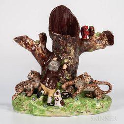 Staffordshire Earthenware Figural Spill Vase