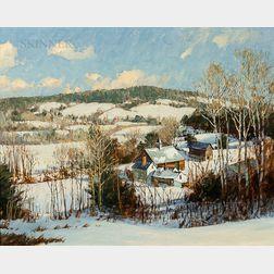David Bareford (American, b. 1947)      New England Farm Landscape in Snow