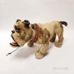 "Early Bulldog Papier-mache ""Growler"" Pull Toy"
