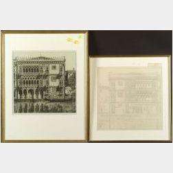 John Taylor Arms (American, 1887-1953)  Lot of Two Views of Ca D'Oro:   Venetian Filigree