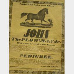 John the Plowman Jr. Horse Breeding Service Broadside