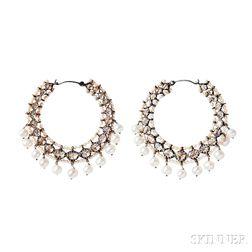 Silver, Diamond, and Pearl Earrings