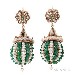 14kt Gold, Pearl, and Emerald Earrings