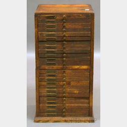 Early 20th Century Oak Twenty-four-drawer Watchmaker's/Jeweler's Chest