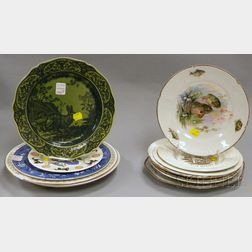 Eleven Assorted Decorated Pottery and Porcelain Plates