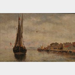 Attributed to Pietro Fragiacomo (Italian, 1856-1922)      Ship Coming into Port