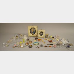 Group of Portrait Miniatures and Assorted Miniature Objects