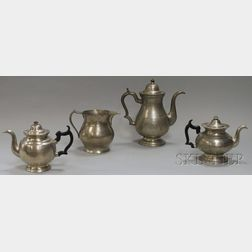 Three Pewter Teapots and a Pitcher