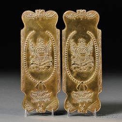 Pair of Stamped Brass Door Push-plates with Patriotic Motifs