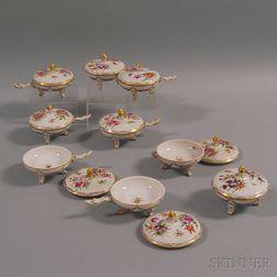 Nine Dresden Porcelain Footed Covered Bowls