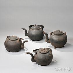 Four Cast Iron Hearth Kettles