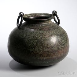 Large Bronze Handled Pot