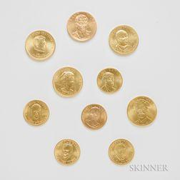 Ten American Arts Gold Medallions