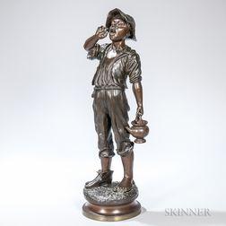 After Paul Du Bois (American, 1830-1887)       Bronze Figure of a Boy Carrying Water