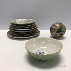 Ten Enameled Ceramic Items