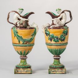 Pair of Wedgwood Majolica Wine and Water Ewers