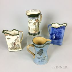 Four Royal Doulton Transfer-decorated Pitchers