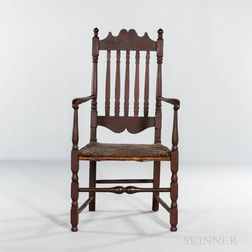 Brown-painted Bannister-back Armchair