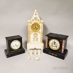 Gothic Cathedral and Two Black Slate Shelf Clocks