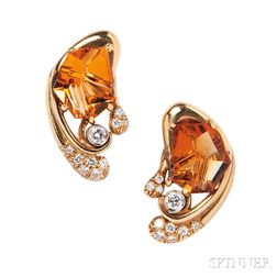18kt Gold, Citrine, and Diamond Earclips