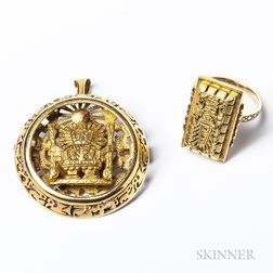 18kt Gold Mayan-decorated Brooch and 14kt Gold Ring