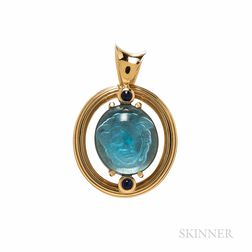 14kt Gold and Reverse Intaglio Pendant