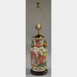 Modern Chinese Export Porcelain Rose Mandarin Vase/Table Lamp