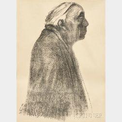 Käthe Kollwitz (German, 1867-1945)      Selbstbildnis im Profil nach rechts