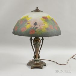 Classique Bronze and Reverse-painted Glass Table Lamp