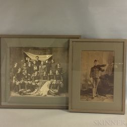 Two Framed Photographs of an Early Football Team and a Young Violinist.     Estimate $250-350