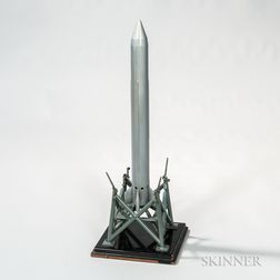 Metal Rocket and Launch Pad Aviation Model