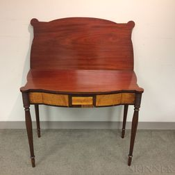 Federal-style Inlaid Mahogany and Maple Veneer Card Table