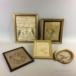 Five Framed Needlework Items