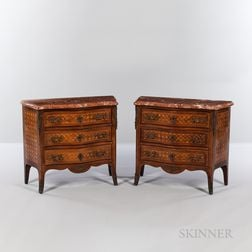 Pair of Louis XV-style Marble-top, Ormolu-mounted, Mahogany and Satinwood Parquetry Commodes