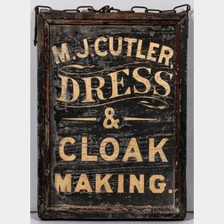 """Two-sided """"M.J. Cutler Dress & Cloak Making"""" Trade Sign"""