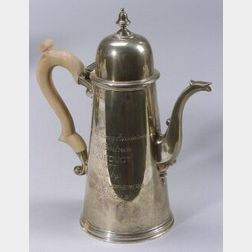 English Sterling Trophy Coffee Pot