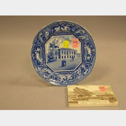 Ridgways Blue and White Senate House, Cambridge Transfer Decorated Staffordshire Plate, and a Wedgwood 1904 U.S. Frigate Constitution i