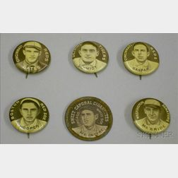 Five 1910-1912 Sweet Caporal Cigarettes Baseball Pins and a Domino Disc