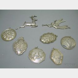 Eight Gorham Sterling Silver Christmas Ornaments